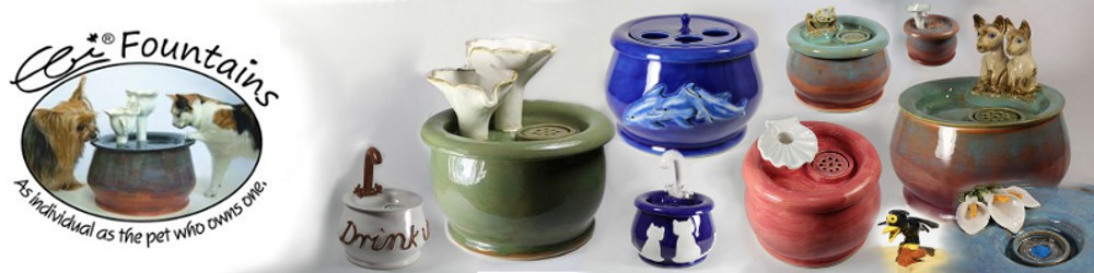 Ebi's ceramic pet, cat or dog fountains and waterers